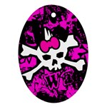 Punk Skull Princess Oval Ornament (Two Sides)