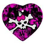 Punk Skull Princess Heart Ornament (Two Sides)
