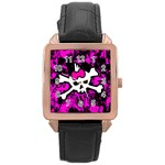 Punk Skull Princess Rose Gold Leather Watch