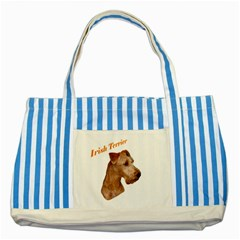 Irish Terrier Striped Blue Tote Bag from UrbanLoad.com Front